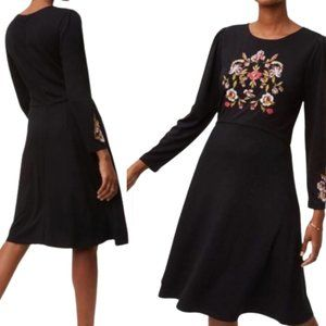 Loft Black Floral Embroidered Long Sleeve Dress 6